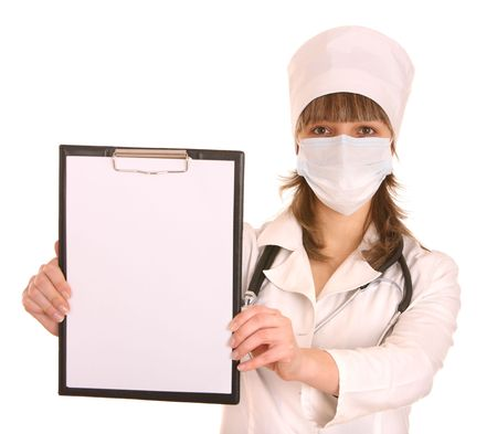 Portrait of doctor with stethoscope. Isolated. photo