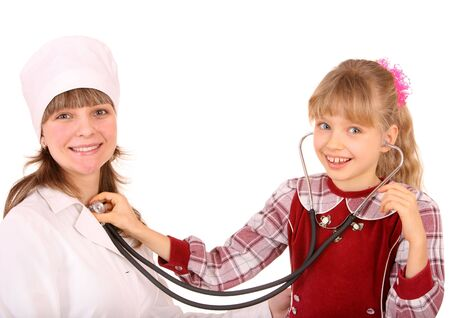 druggist: Doctor with stethoscope and child. Isolated.