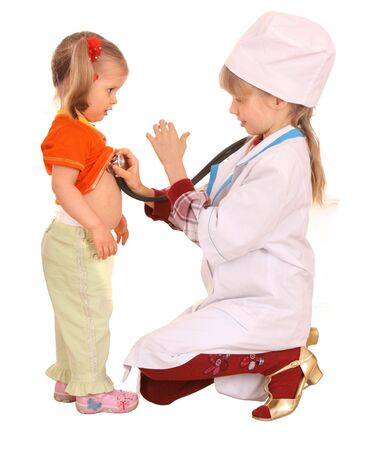 Children play doctor and nurse. Isolated. photo