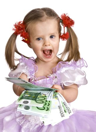 Money and child in dress. Isolated.