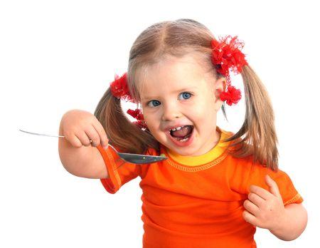 enfants qui rient: Alimentation de b�b� poire. Isol�.
