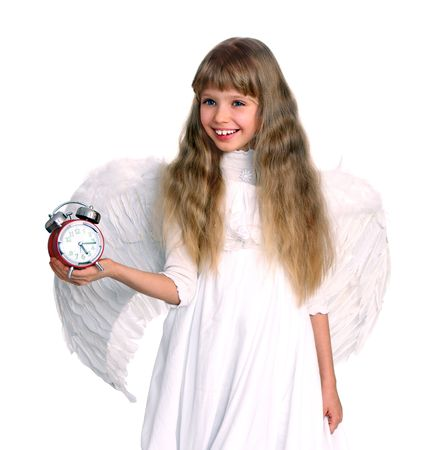 Girl in angel costume with book. Isolated. photo