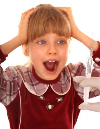 Child afraid to do inoculation. Medicine. Stock Photo - 4908980