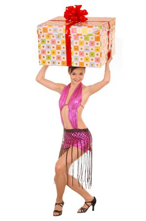 Woman with gift box on head. Isolated. photo