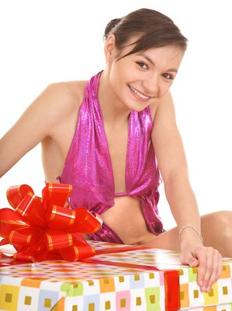Woman with big gift box. Isolated. photo