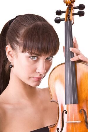 Beautiful young girl with fiddle. Isolated.  photo
