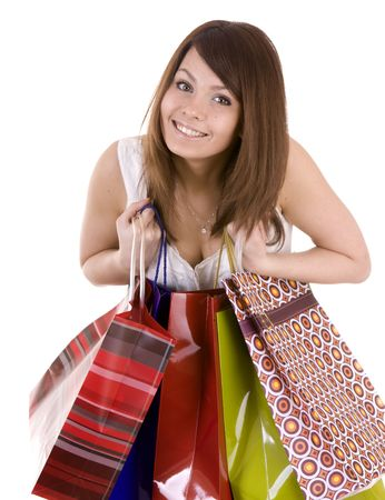 Young girl with gift bag. Isolated. Stock Photo - 4893247
