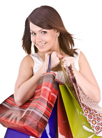 Young girl with gift bag. Isolated. Stock Photo - 4893274