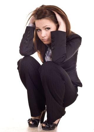 Business problem of young  businesswomen. Isolated.