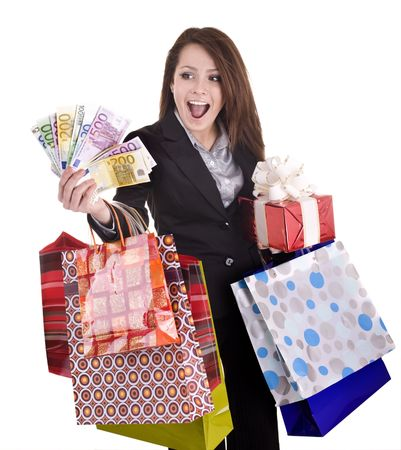 Business  woman with money, gift, box, bag. Isolated. photo