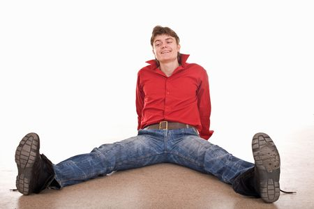 Clever cheerful handsome strong man. Isolated. Stock Photo - 4893267