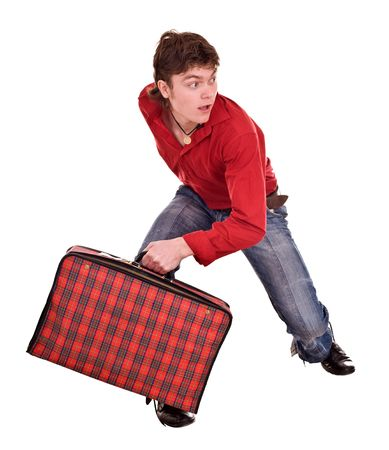 Cheerful  happy man with suitcase . Isolated.  Stock Photo - 4893117