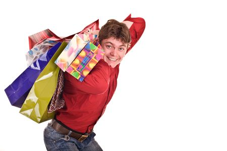 Cheerful funny  happy shopping man. Isolated. Stock Photo - 4893104