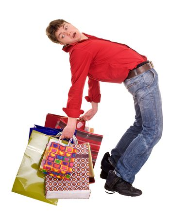 Cheerful funny  happy shopping man. Isolated. Stock Photo - 4891051