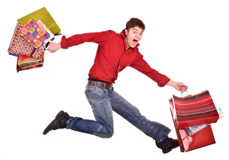 Cheerful funny happy shopping man. Isolated. Stock Photo