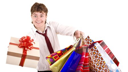 Happy man with gift box. Shopping. Isolated. photo