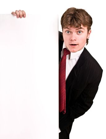 Businessman with white banner look. Isolated. photo