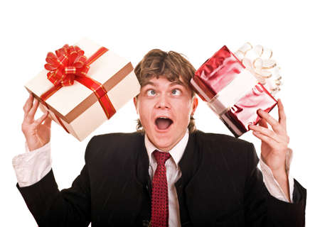 Man with two gift box. Isolated. photo
