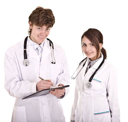 Doctor and nurse with folder. Isolated. photo