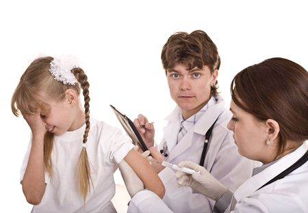 Doctor inject inoculation to child. Isolated. Stock Photo - 4893248