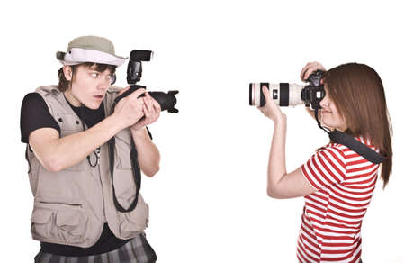 Photographer couple with digital camera. Isolated. photo