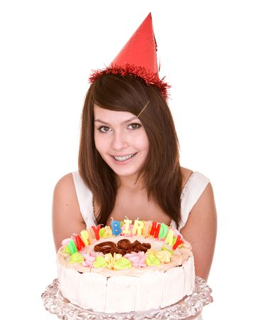 white women: Happy birthday girl with cake. Isolated.