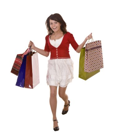 Young girl with shopping bag. Isolated. Stock Photo - 5554305