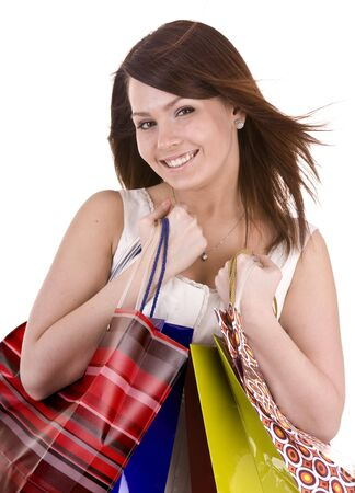 Young girl with gift bag. Isolated. Stock Photo - 5554358