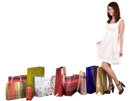 Girl with shopping bag wait for  taxi. Isolated. Stock Photo - 5554315