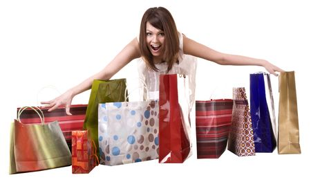 Young girl with shopping  bag. Isolated. Stock Photo - 5554339