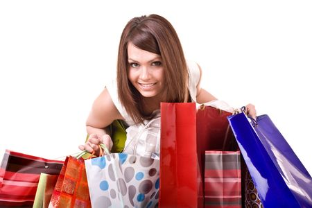 Shopping girl with group bag. Isolated. Stock Photo - 5554350