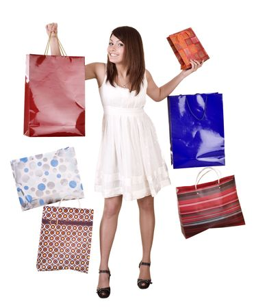 Young girl with falling shopping bag. Isolated. Stock Photo - 5554335