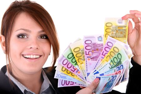 Businesswomen with group of money. Isolated. photo