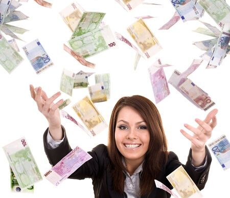 Business women with flying money. Isolated. photo