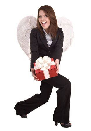 Business woman  angel with christmas red box. Isolated. Stock Photo - 5554306