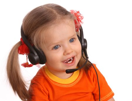 Portrait of child with headset. White background. Stock Photo - 5595695