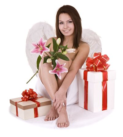 Angel with gift box and flower.Isolated. photo