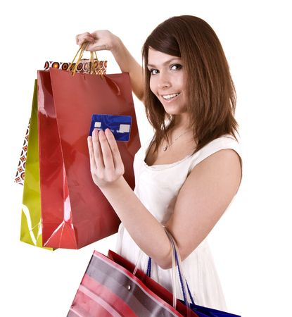Girl with  bag and credit card. Isolated. Stock Photo - 5595698