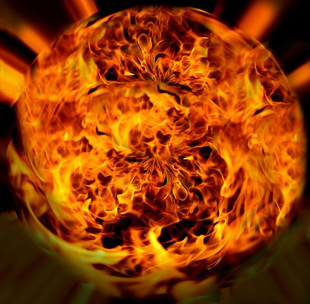 contrasts: Illustration of magic fire ball.Flame.