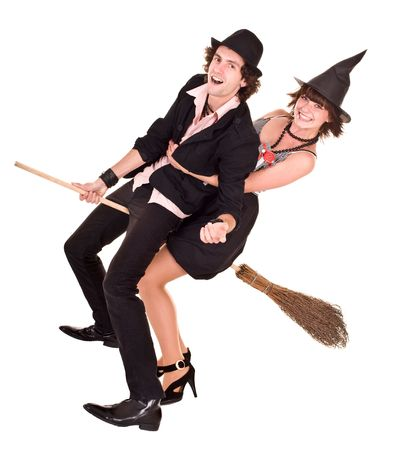 Halloween girl witch on broom bear man. Isolated.  photo