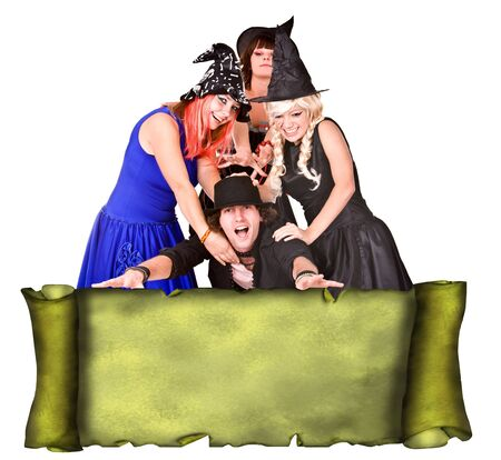 People group in witch costume with scroll banner  grunge. Illustration. illustration