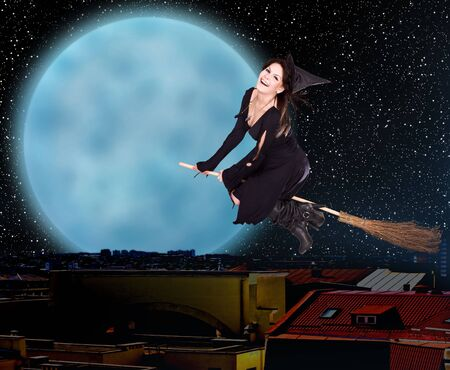 besom: Girl witch fly on broom over  city against moon and star sky. Illustration.