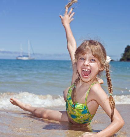 beach blond hair: Emotion girl  at sea coast. Tourism.