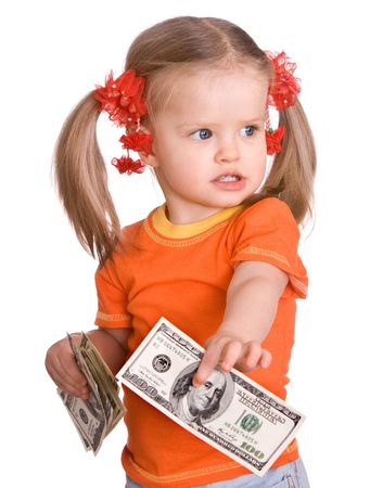 Baby girl in orange with money dollar in hand. Isolated. Stock Photo - 5680149