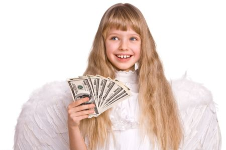 78: Girl in halloween angel costume with dollar money.  Isolated