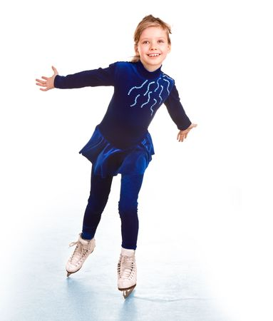ice skating: Girl in blue sport dress on skates.Isolated.
