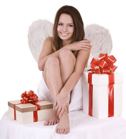 Angel girl with gift box. Isolated. photo