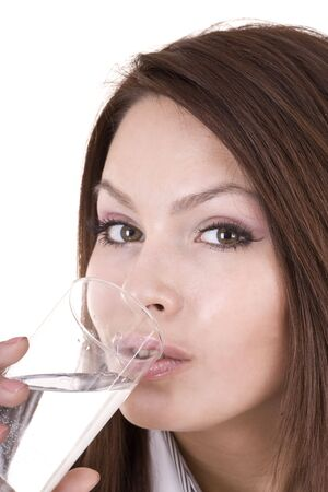 Woman with glass of water. Isolated. photo