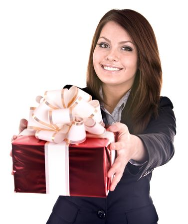 gift bag:  Business woman with gift box. Isolated. Stock Photo
