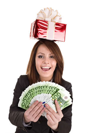 Business woman with money,red christmas box. Isolated. photo
